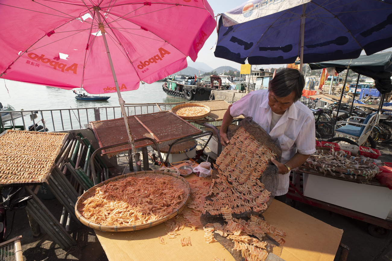 Dried shrimps, one of the many fantastic traditional sea foods you can find here.