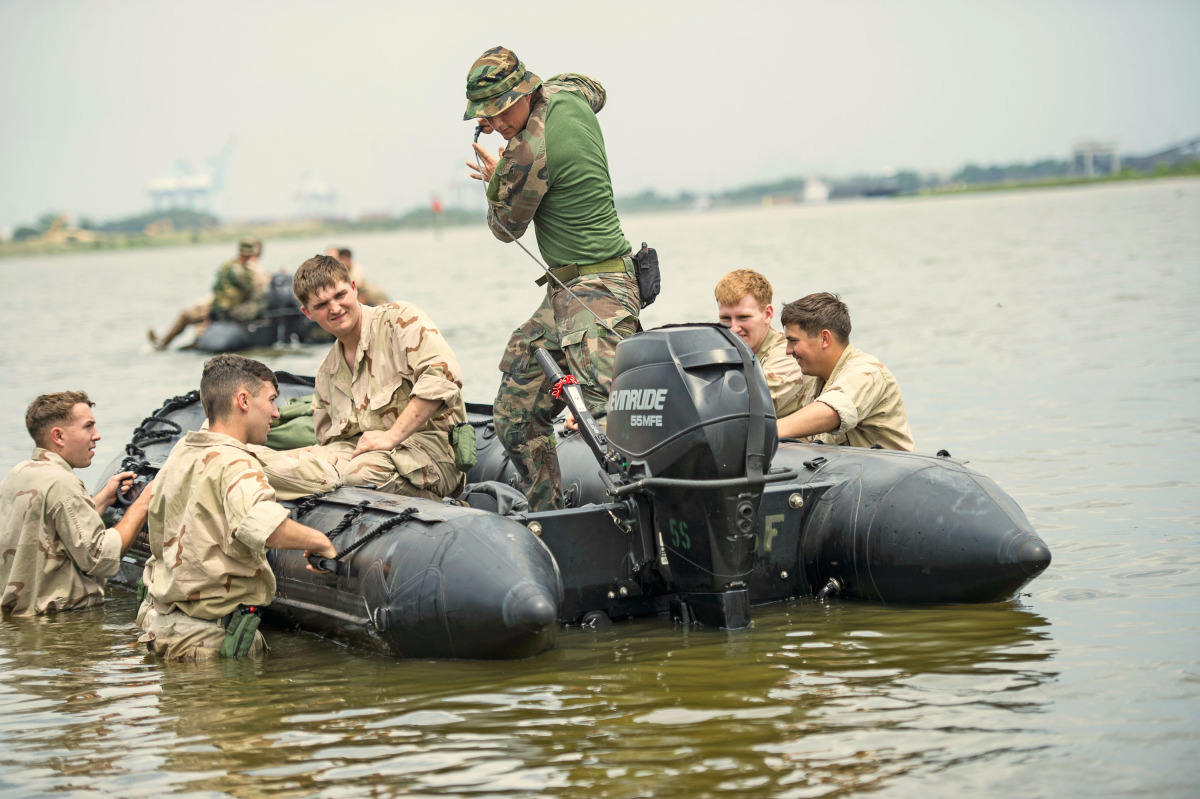Marine Raiders conduct simulated partner nation training for boat operations at pre-deployment exercise RAVEN in Mississippi, Louisiana, Alabama on May 14, 2015.