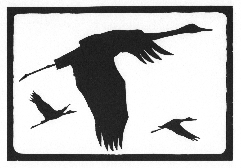 Sandhill Cranes • © Fred Montague  $48 • image 8 x 5.5 • mat 14 x 11  Edition size: 88 • status: available