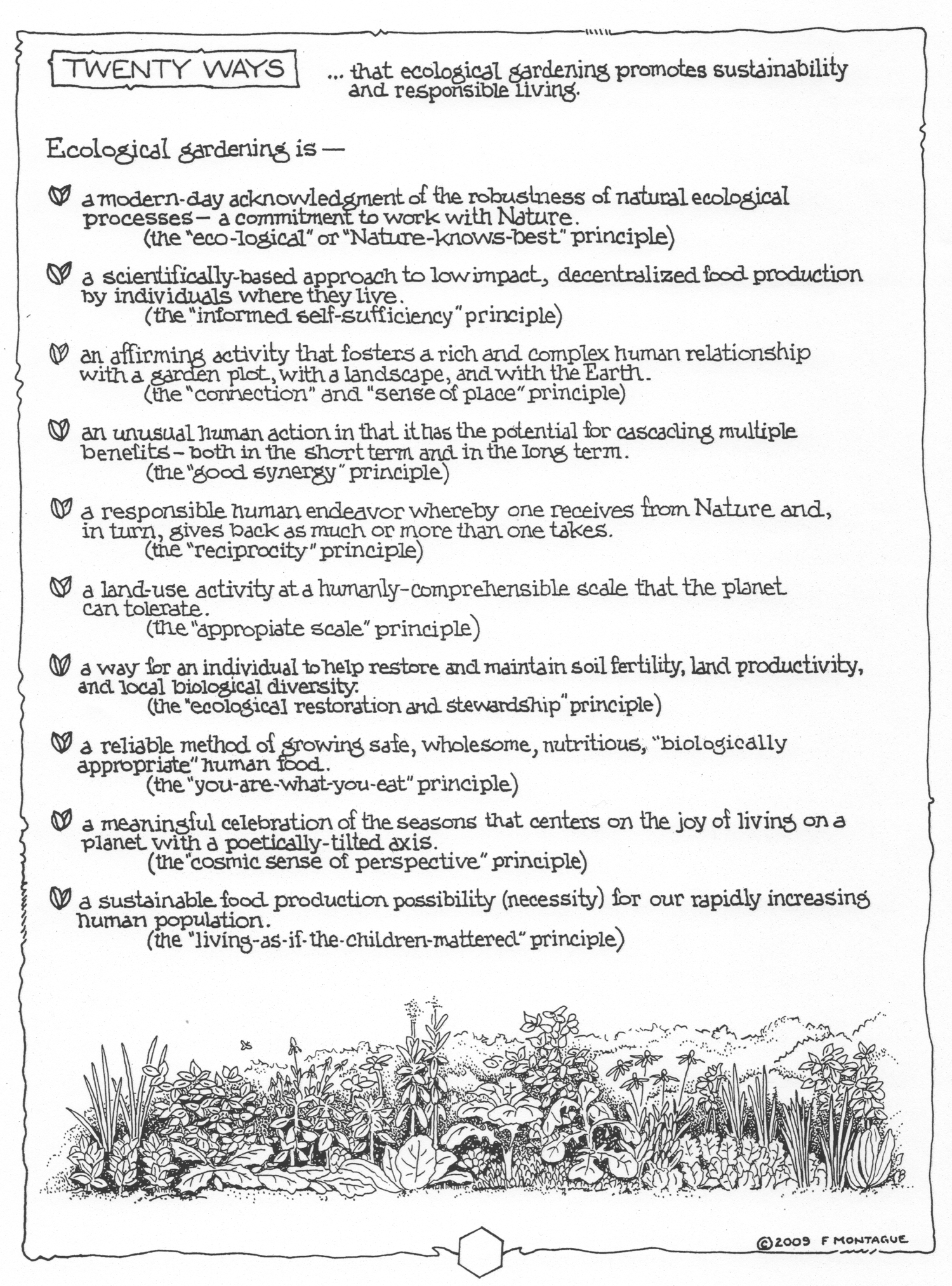 Sample Page from Preface: Twenty ways that ecological gardening promotes sustainability and responsible living. Part one of two.