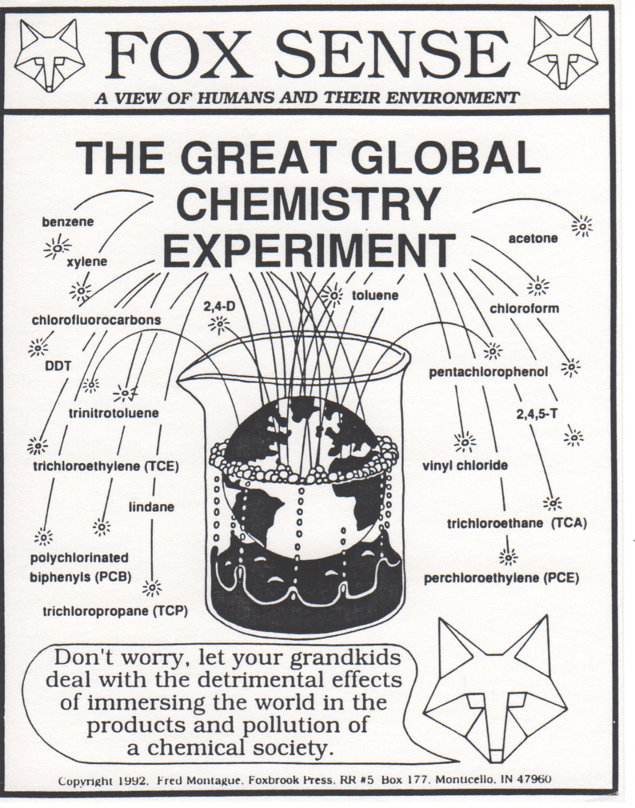 """""""The Great Global Chemistry Experiment"""" from Fred Montague's Foxsense .© 1992 Fred Montague"""