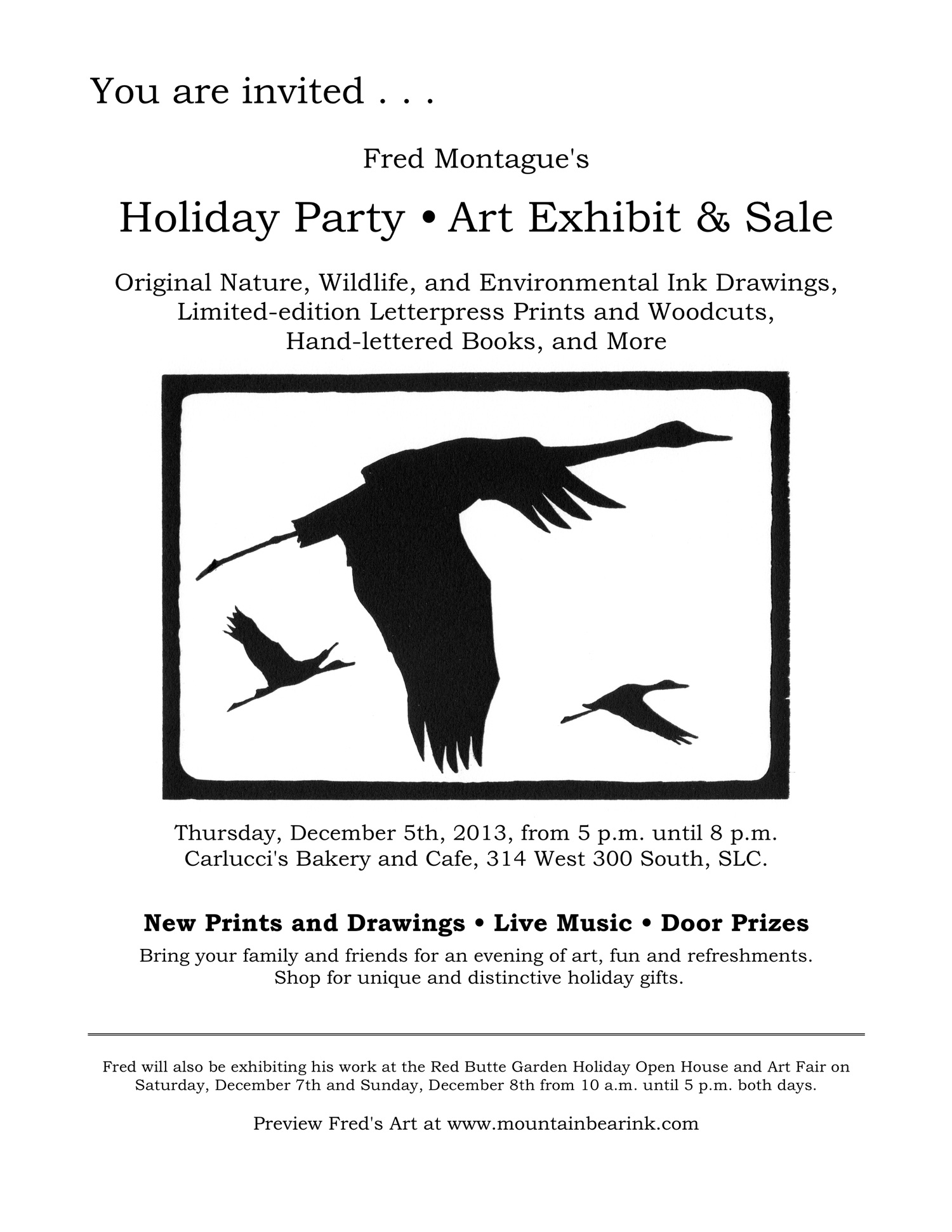 Art Party and Sale Invitation, December 5th, 2013, Carlucci's Bakery, Salt Lake City.