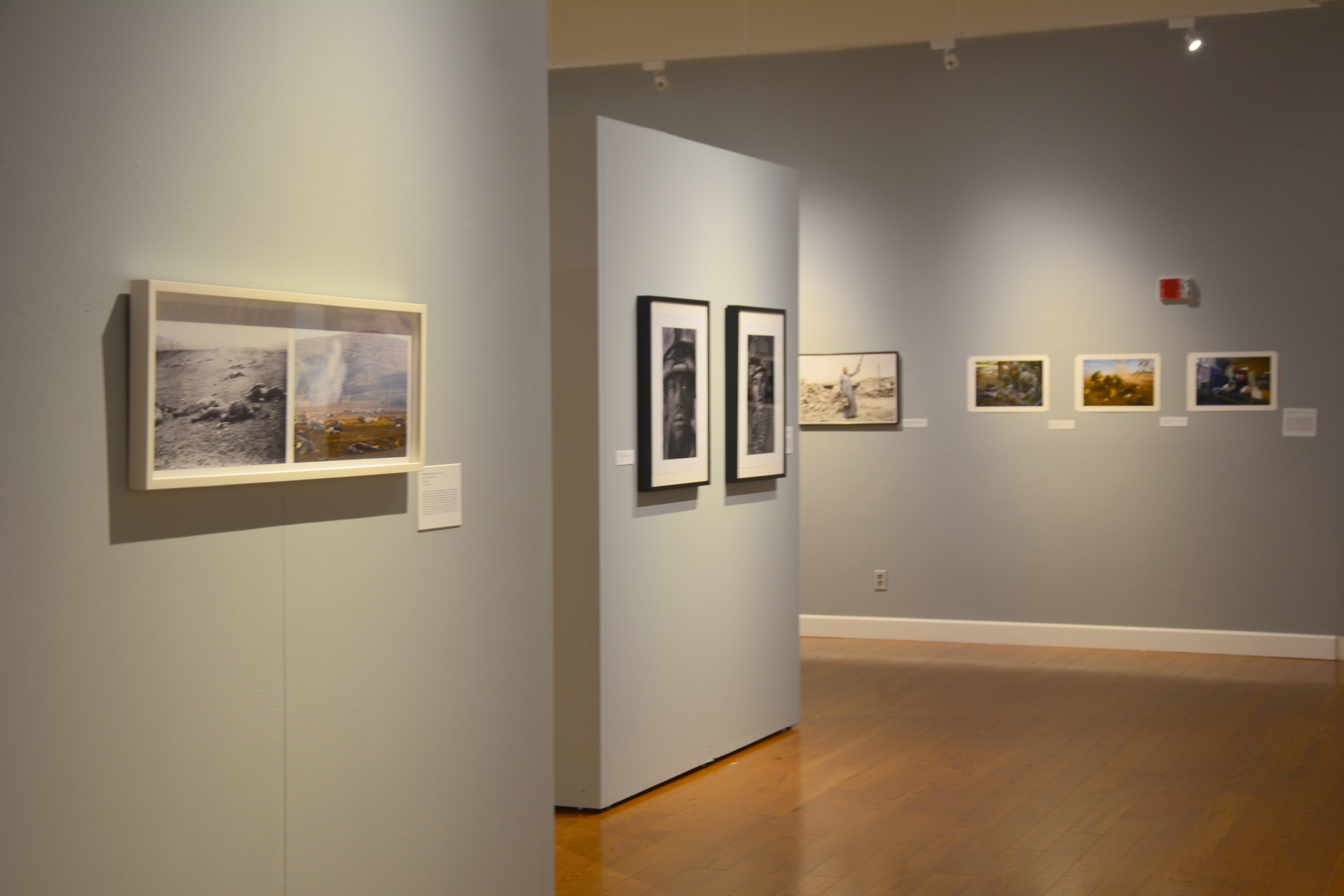 Installation view of  Gettysburg Comparison  in the exhibition  Conflict and Consequences  at Beloit College. Curated by Todd Tubutis