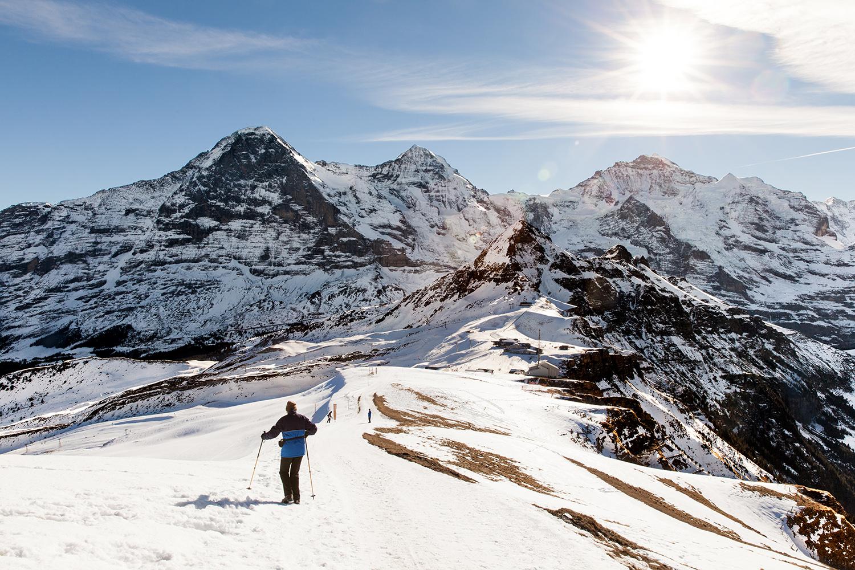 mountains snow switzerland skiier