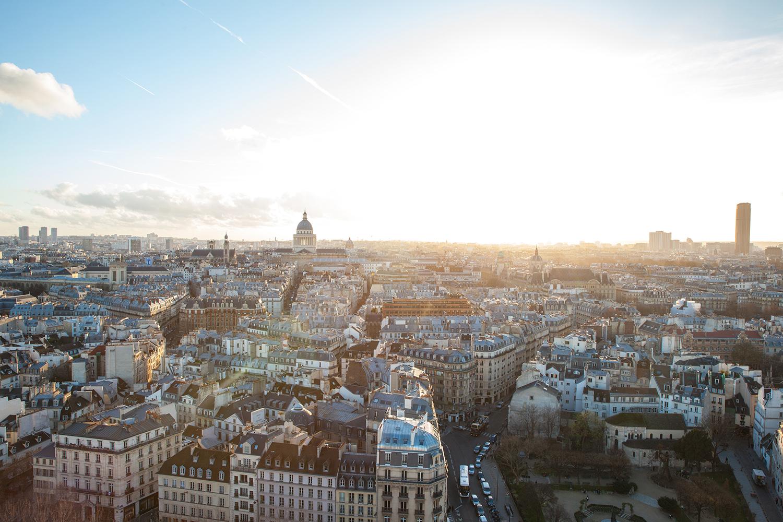Notre Dame skyline paris france sunset
