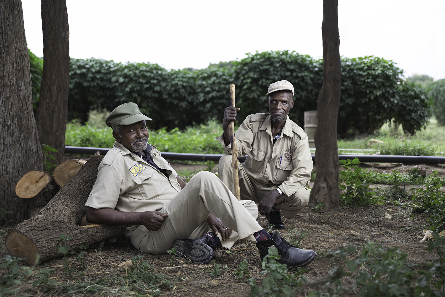 Copy of Two guards sitting at a farm in Ethiopia