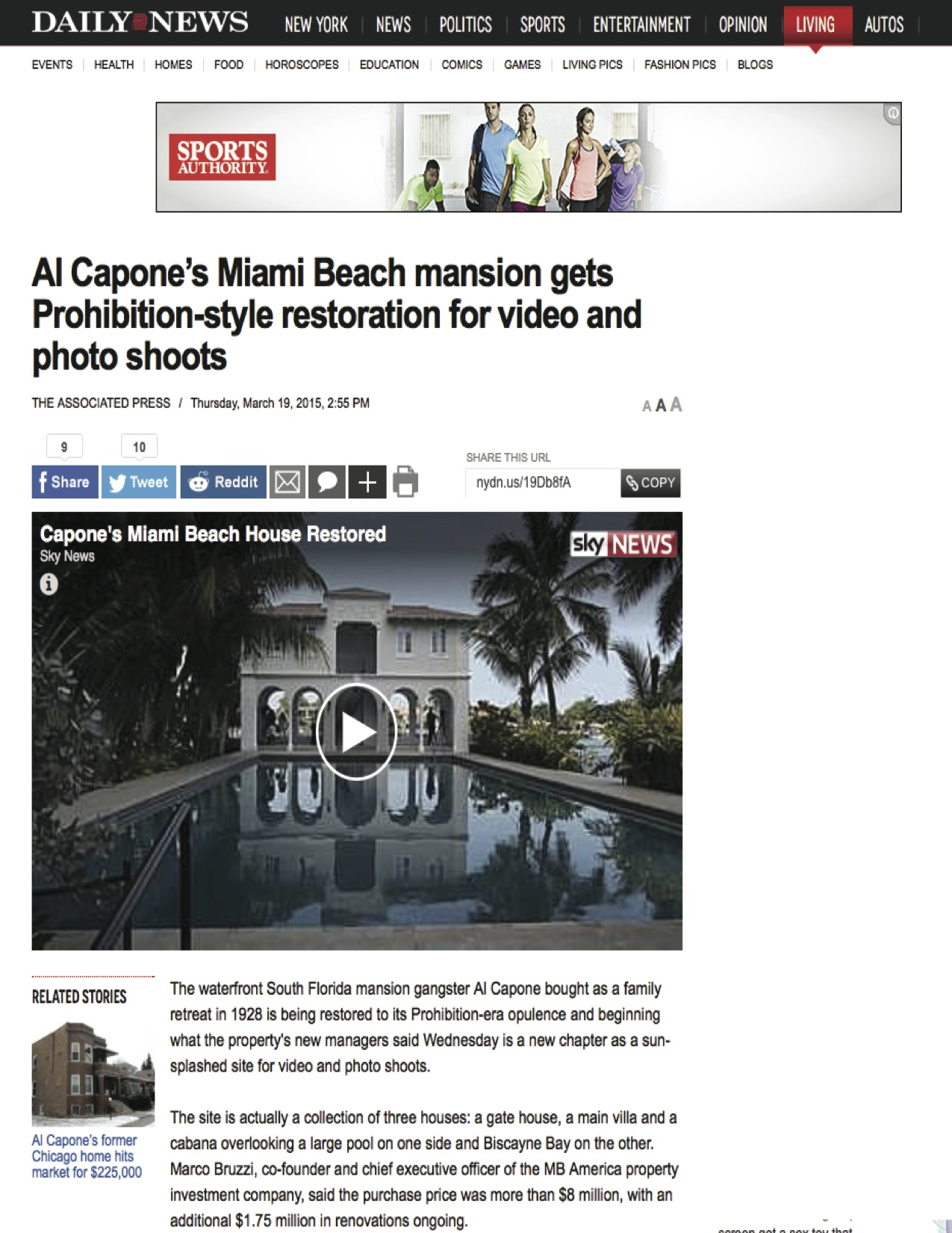 """<p><strong>Daily News</strong><a href=""""http://www.nydailynews.com/life-style/al-capone-miami-beach-mansion-restoration-article-1.2155650"""" target=""""_blank"""">Watch Video →</a></p>"""