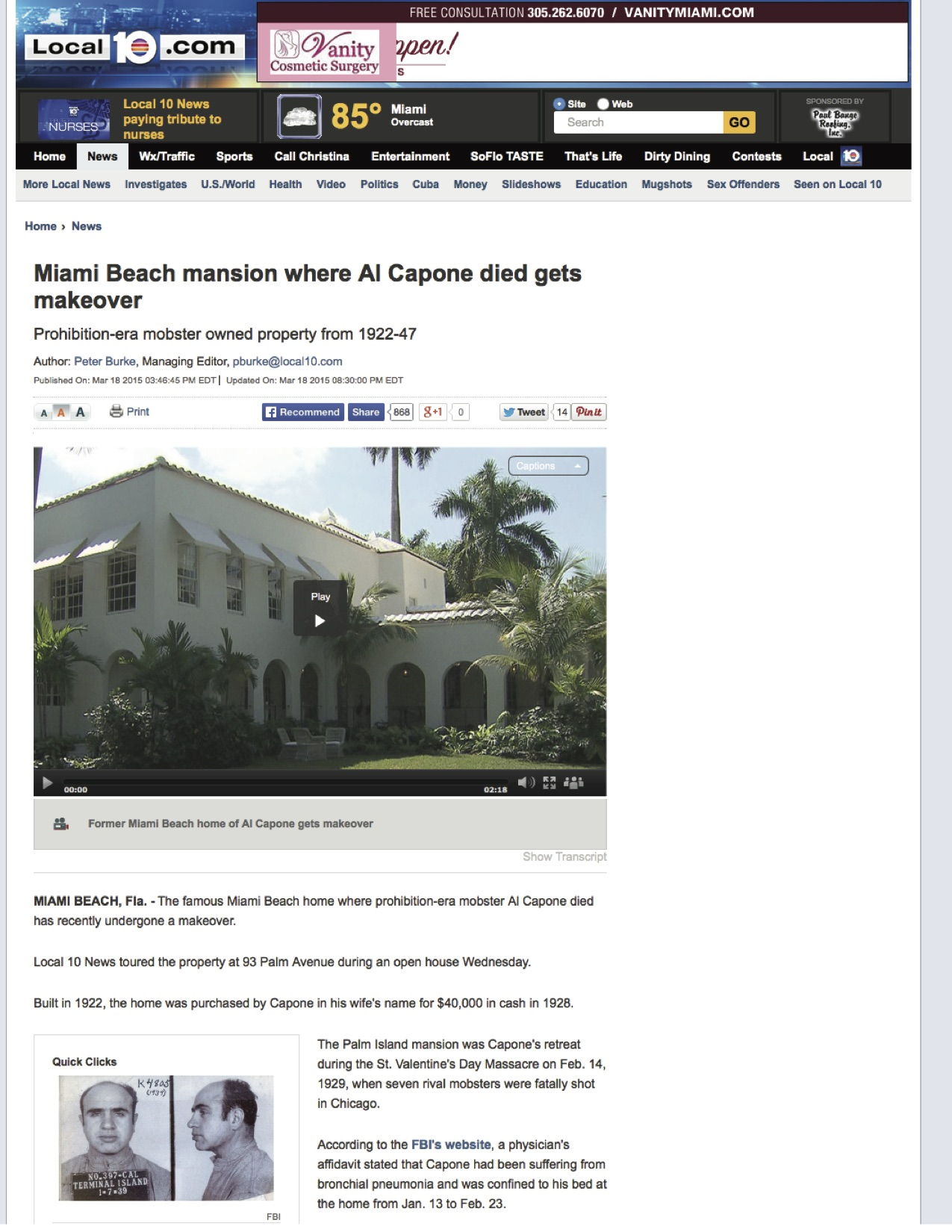 """<p><strong>Local 10 News</strong><a href=""""http://www.local10.com/news/miami-beach-mansion-where-al-capone-died-gets-makeover/31869208"""" target=""""_blank"""">Watch Video →</a></p>"""