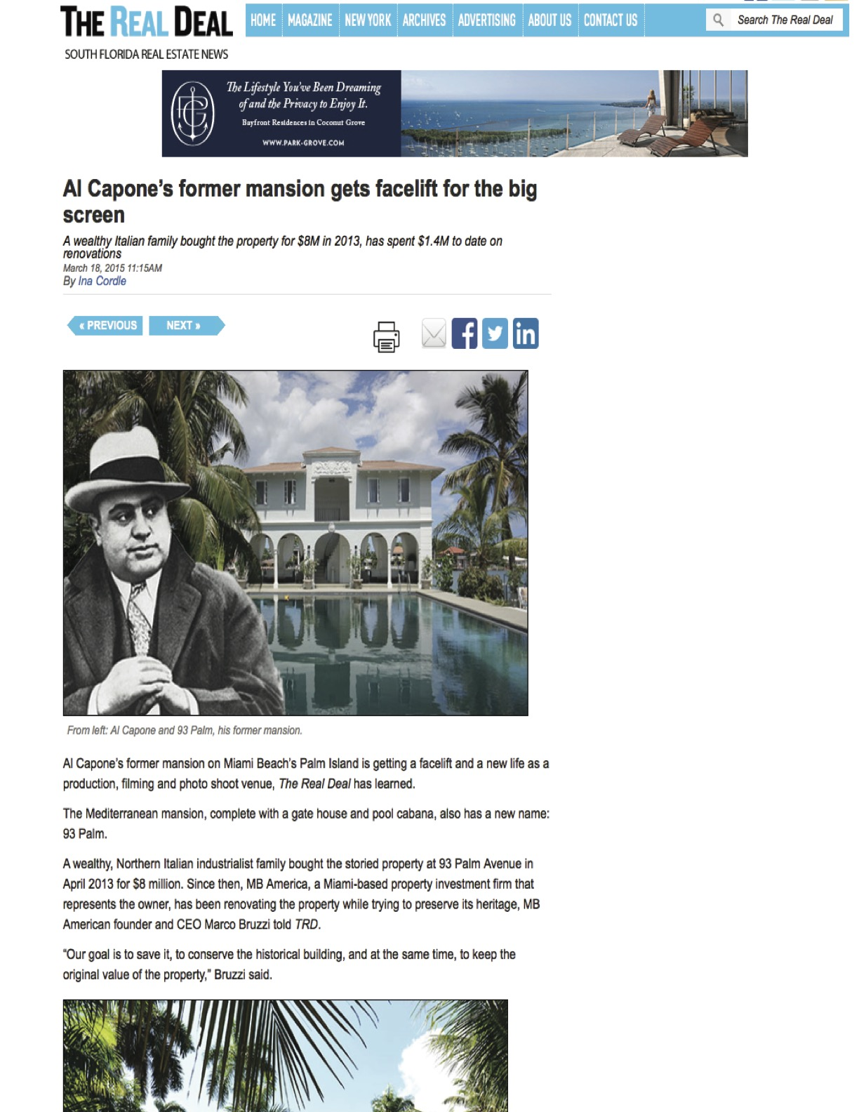 """<p><strong>The Real Deal</strong><a href=""""http://therealdeal.com/miami/blog/2015/03/18/al-capones-former-mansion-gets-facelift-for-the-big-screen/"""" target=""""_blank"""">View Article →</a></p>"""