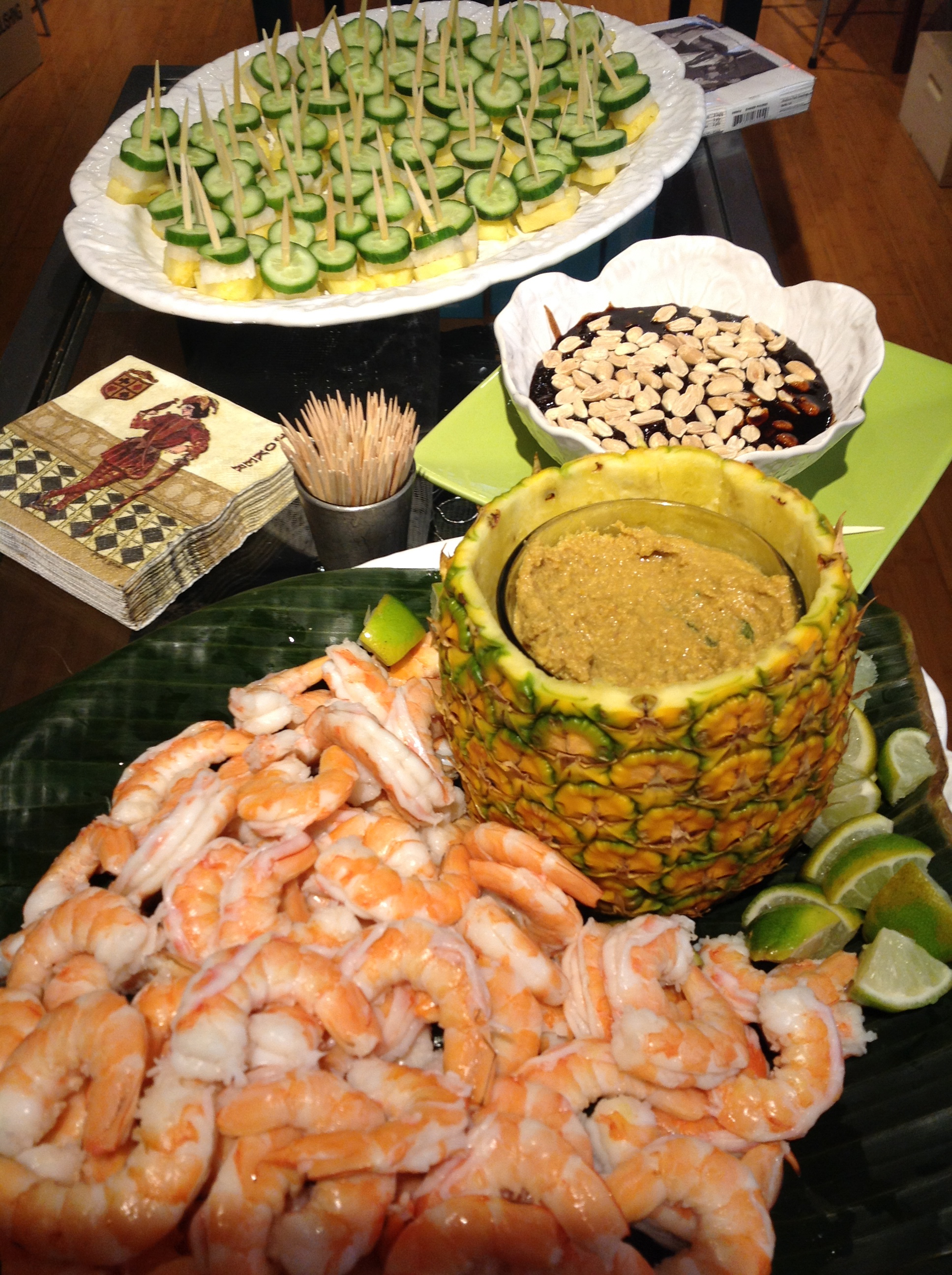 Shrimp with rendang dip and rojak salad on a stick with shrimp paste and sweet soy dip.