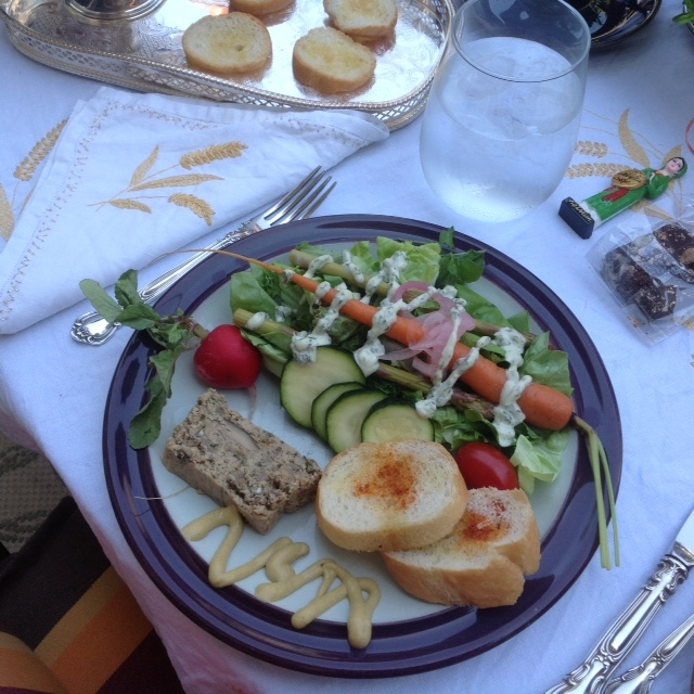 Mushroom Pate and Mixed Salad with Spring Vegetables and Green Goddess Dressing.