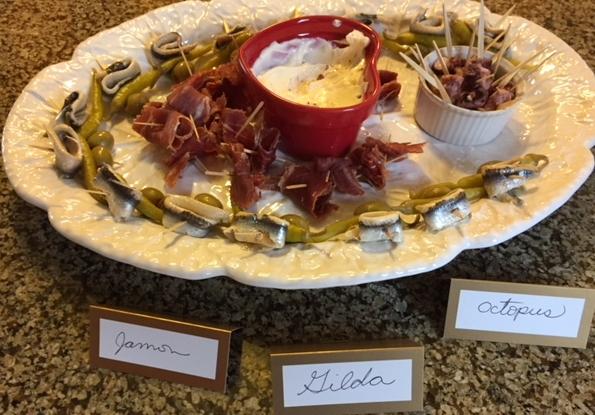 Classic Basque pintxos: Jamon de Iberico, the Gilda and octopus with garlic mayonnaise