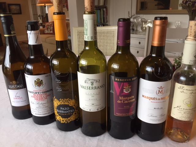 Fino and amontillado sherry, Pazo Barrantes Albarino, Valserrano Blanco Rioja, Marques de Caceres Rioja Reserva 2011, Marques de Murrieta Reserva 2012 Rioja and Domaine Bru Bache Jurancon