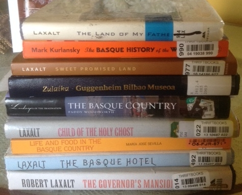 Books I bought for researching Basque history and culture, except  Guggenheim Bilbao Museum,  which   I borrowed through an interlibrary loan.