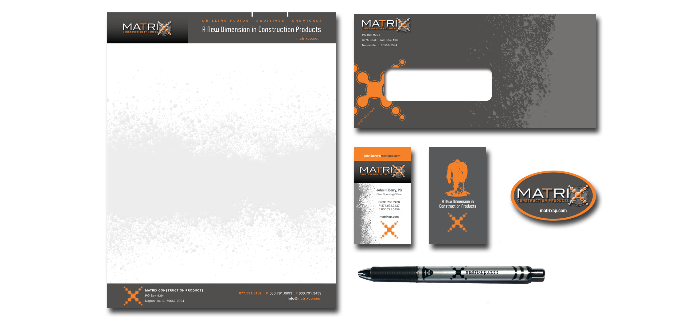 Stationary   Letterhead, envelope, extra thick business cards with orange painted edge and logo imprint pen.
