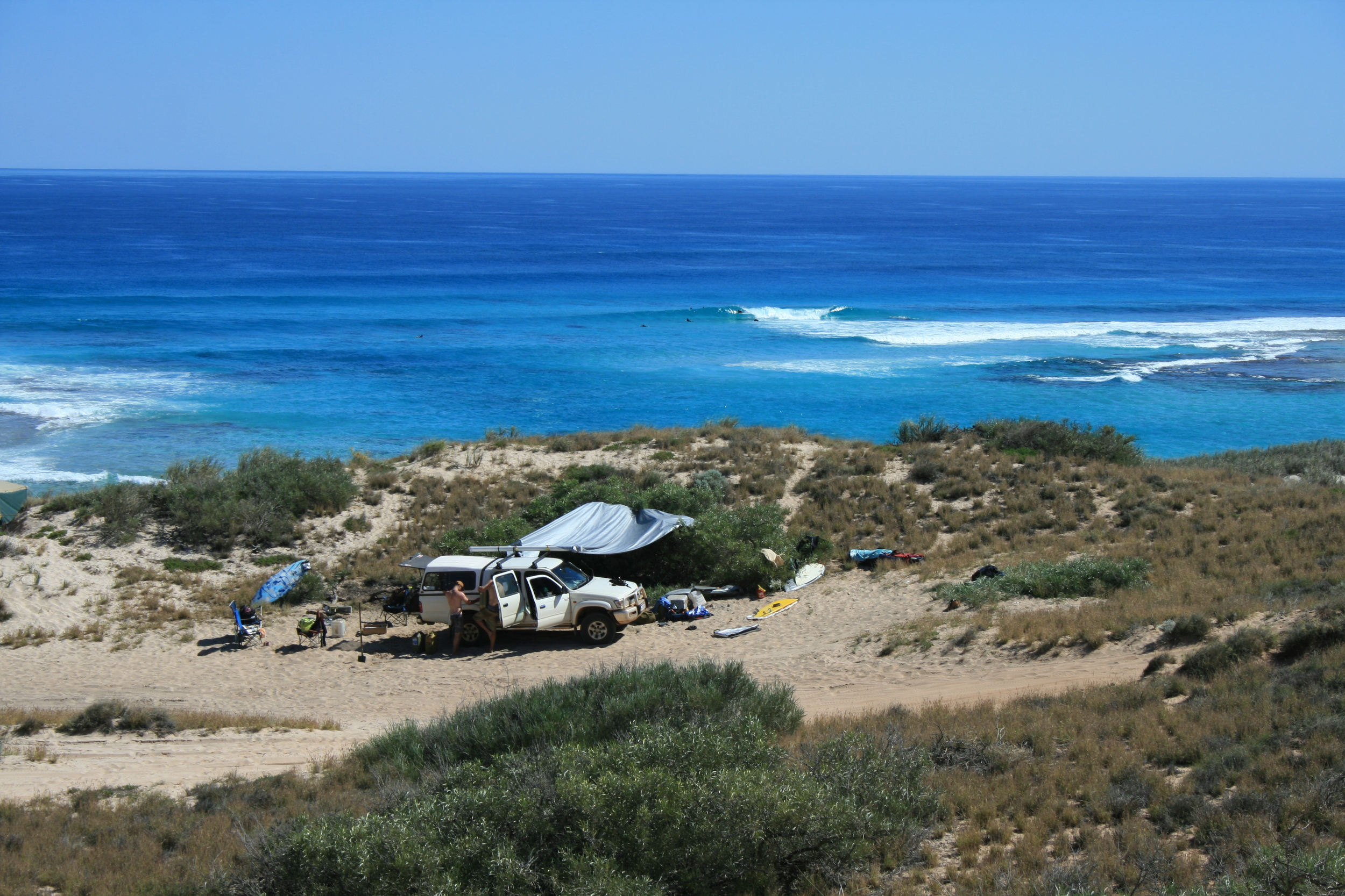 Where won't a Hilux take you in WA? The set up at Waroora Station after the swell dropped. Photo: Tom Nagle