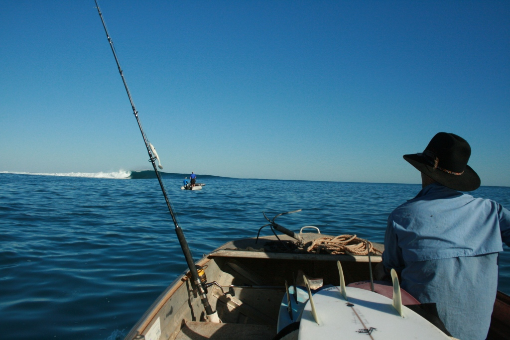 Crawling out on the first morning towards the channel, totally unsure what to do and how not to get a 6ft set in the boat. Photo: Tom Nagle