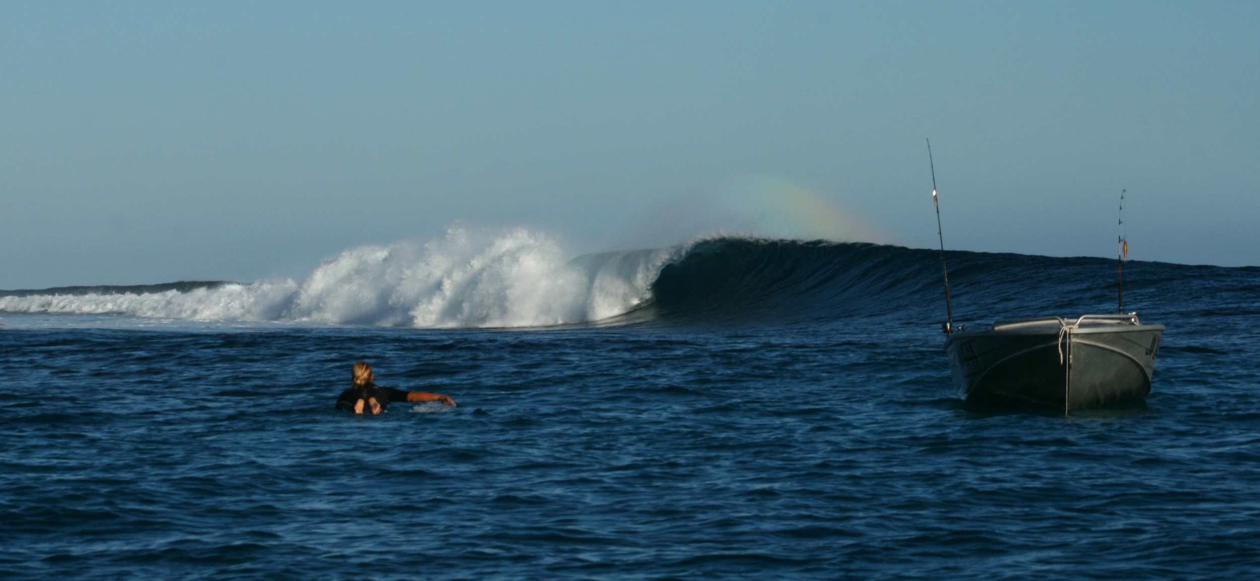 2nd day, swell has dropped off, cleaned up and the morning offshore is doing the thing. Photo: Old Cat Fish Slater
