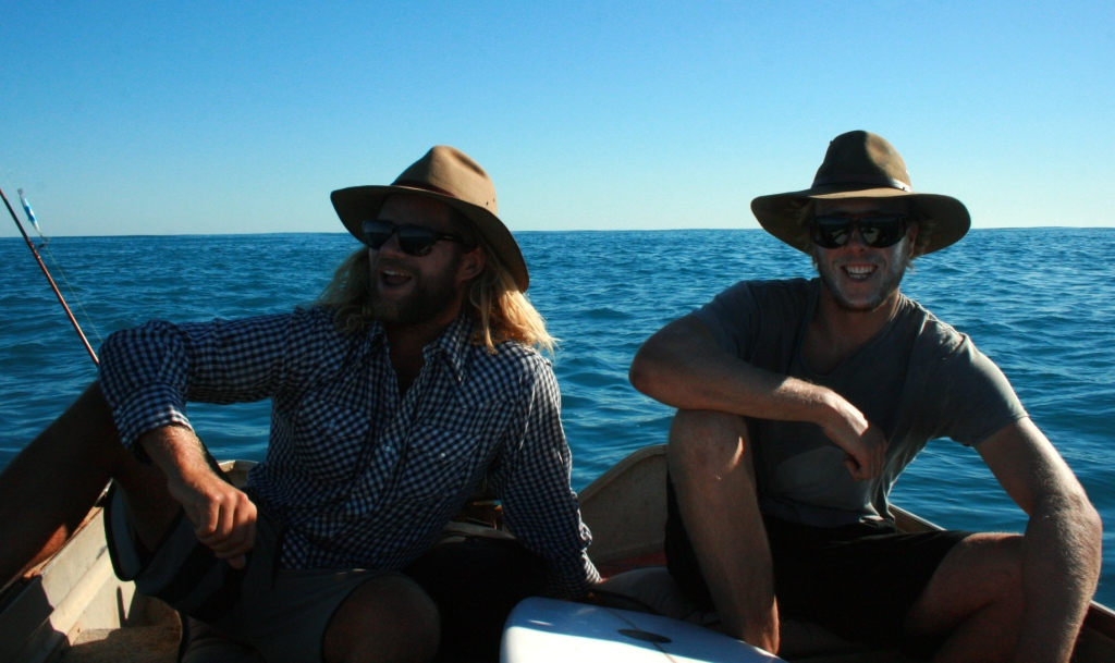 The only blokes in the channel wearing Akurba hats... Photo: Old Cat Fish Slater