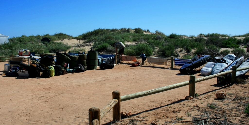Cape Range camp site, bare as a bear's arse and nowhere to hide from midday sun! Photo: Tom Nagle