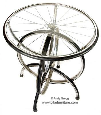 This designer is dedicated to repurposing bike parts into furniture.