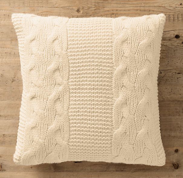 Italian Wool and Alpaca Knit Pillow in Ivory. Restoration Hardware, $79.