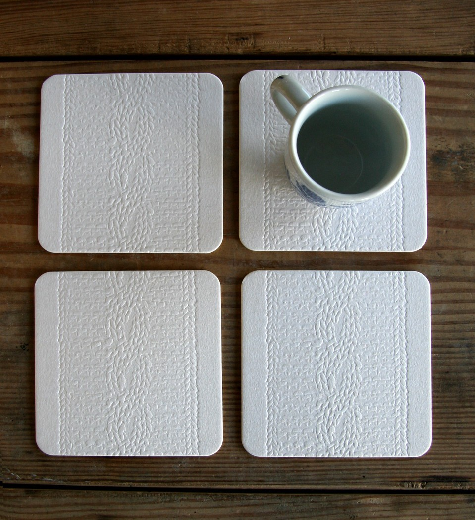 Letterpress coasters, $10 for the set of 4.
