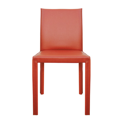 This leather chair could be paired with white lacquer desk. Or, use 4-8 around a dining table. Urban Home, $99.
