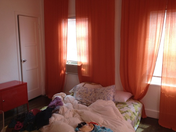 Girls: nobody wants to be in this room.  Clutter is gross and repels men . Clean up, get a proper bed, and be a classy lady.