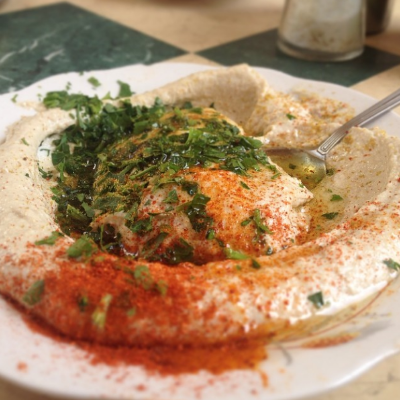 Creamy Fresh Hummus with Paprika, Cumin, Parsley and Olive Oil