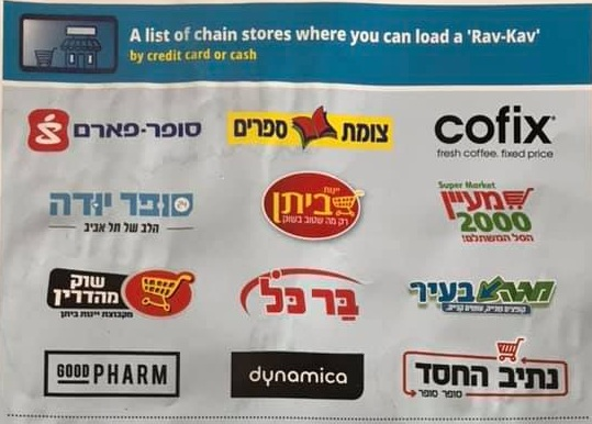 List of stores where you can charge your rav kav