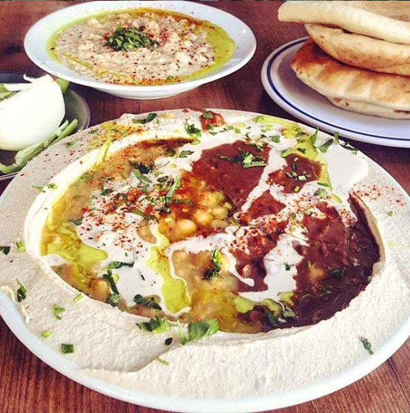 Hummus with all the fixins' at Haben Shel Hasuri Hummus - even on Passover.