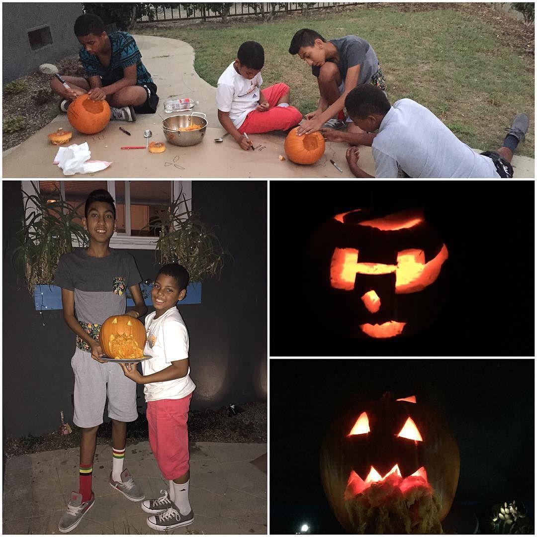 Pumpkin carving with Clyde crew! #happyhalloween #pumpkincarving #clydecrew