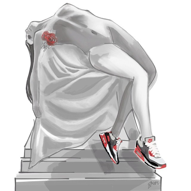 """Beautiful Death"" - One of my pieces for tomorrow night #FRESHtoDEATHartshow @rswdsd    The lament and/or death of this girl is serious and so are her Air Max 90 Infrareds.."