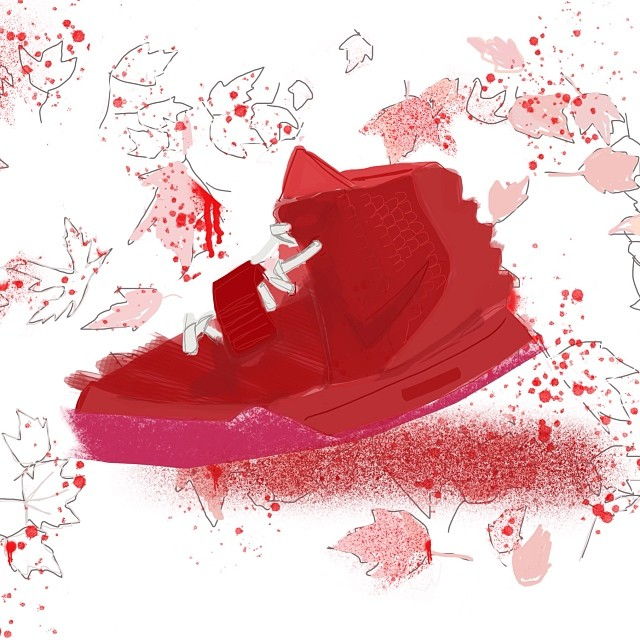 Red October - Yeezy 2 - Mache Customs   #marsartist #digitalpainting #bloodontheleaves