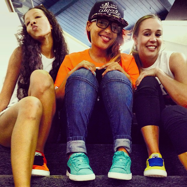 Tres amigas 😊😊😊 rockin Puma Suedes @nerdlikejazzy @falicenyree   kickin it at the #ToddJamesLA event x #kicksonfire @millenniumshoes #FlossAngeles