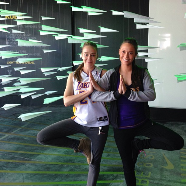 Geekin' out in Tree Pose at w/ @melputer at #NikeVault  Go #Lakers 💜💛🏀🏆 [Photo by @brodiecortez]✨✌