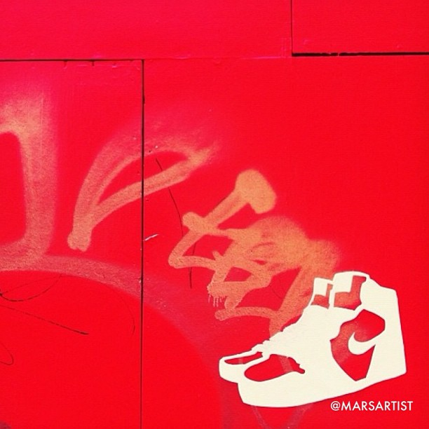 """""""On-Site 2"""" NYC temporary street art by #marsartist 2012  Innovate and push to arrive at a new avenues, """"Stay Kicked"""" and be real.    @aubrymarie and I created #staykicked Checkout @missfitkicks for more info!   Do you know anyone who needs / and could really use apair of some fresh new kicks? Let us know and hashtag it, #staykicked ✨We can't help everyone, but everyone can help someone .✨ Be true. Be fly. Be you.  """"Stay Kicked"""""""