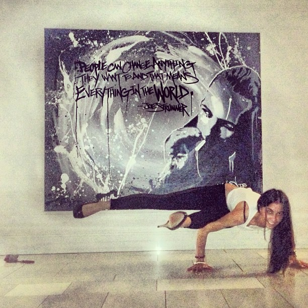 "Art & Yoga by @aubrymarie ""And so now I'd like to say - people can change anything they want to."" - Joe Strummer #hardrockhotel #yogainheels"