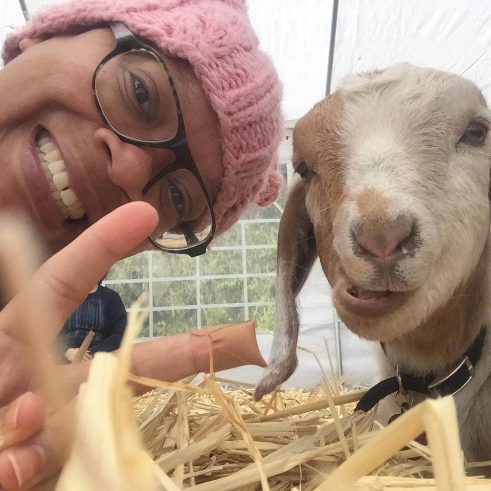 My first goat selfie with Preston.