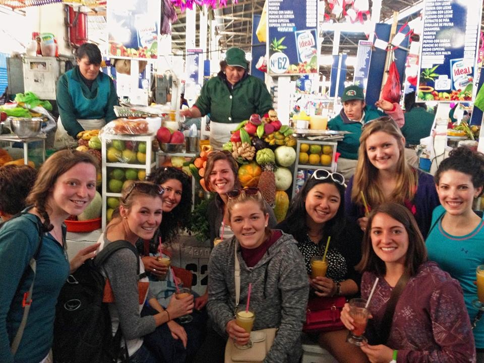 Meet our summer interns and Peru Project Coordinator, Jenny Nepom! Today we took the girls on a tour around Cusco and enjoyed some locally famous, freshly squeezed juice at the San Pedro Market / Mercado de San Pedro . Photo taken: May 21, 2013.
