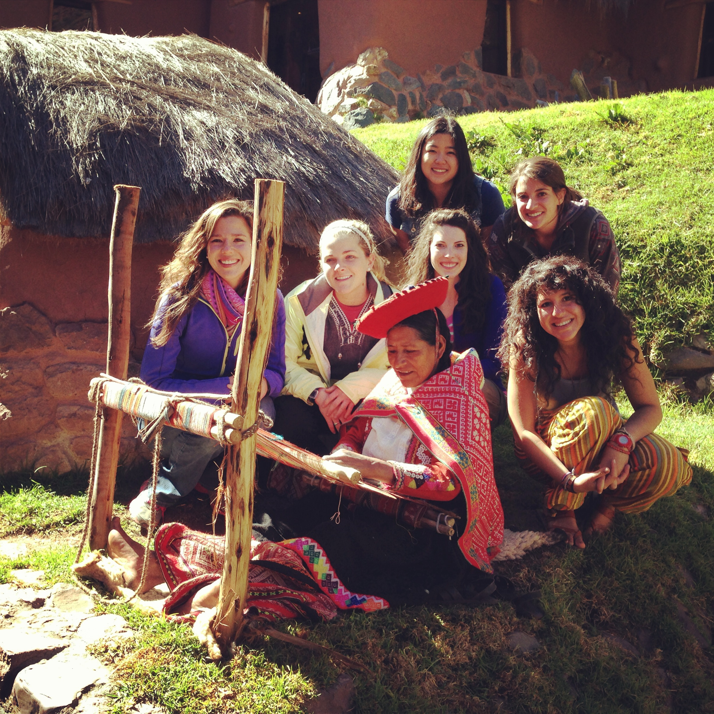 We met this Quechua woman during a Sacred Valley tour with Inca Trail Trekking Company . It takes her two weeks to make each manta (blanket). From left to right: Jenny Poliwka, Amy Scheel, Lauren Braun, Joanie Kim (above), Dani Corona, and Vanessa Rivera.    Photo taken: May 26, 2013.