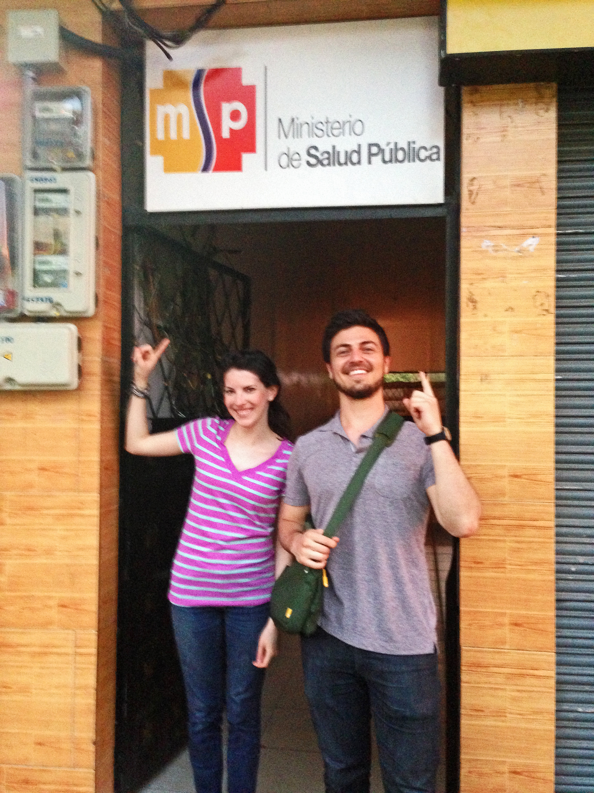 Lauren, our founder and President, and Alex, our Ecuador Project Coordinator, were really psyched after a very successful first meeting with the regional Ecuadorian Ministry of Public Health last week! Photo taken: June 12, 2013.