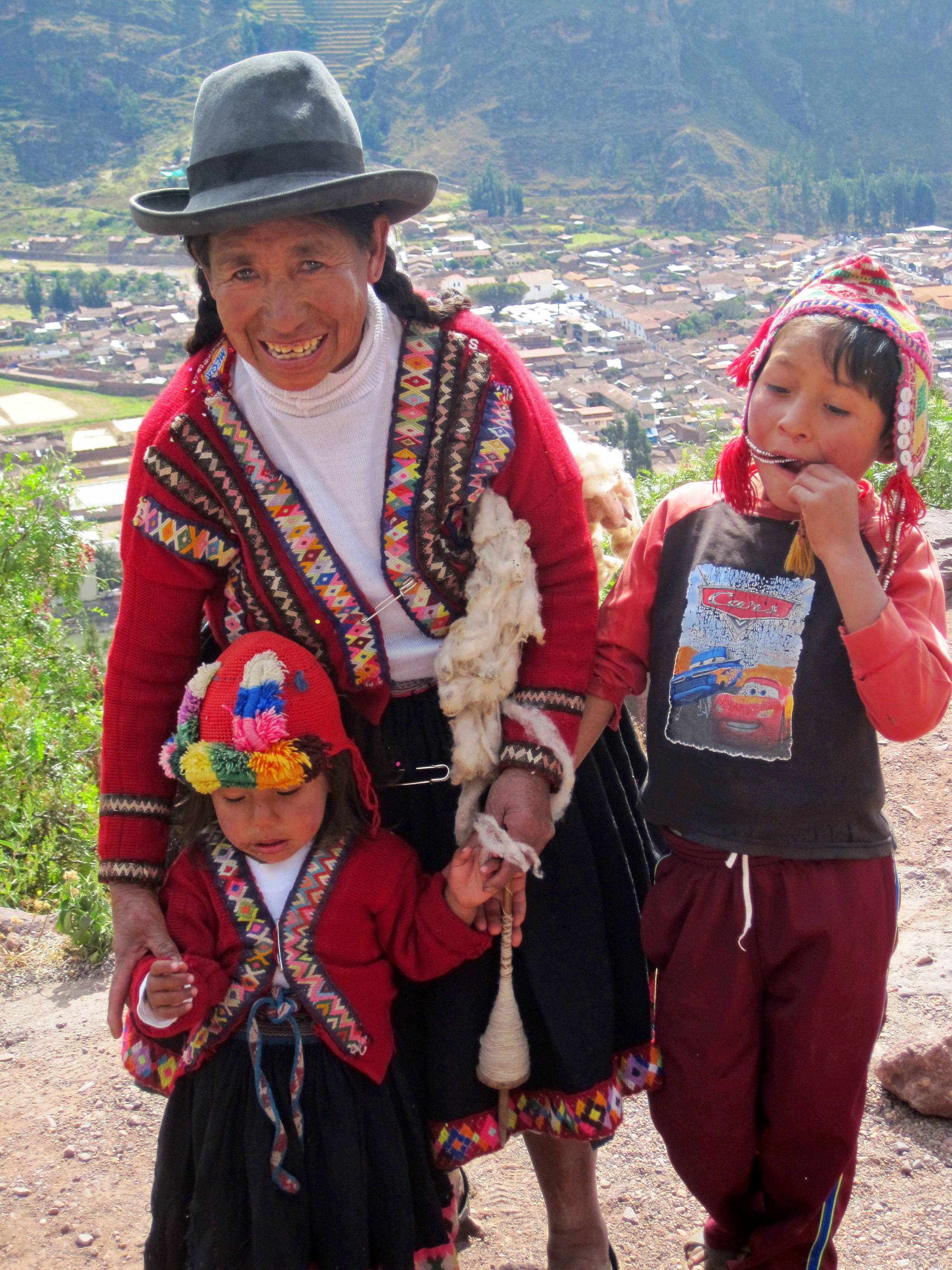 We met this Quechua woman and her two children in one of the ruins. She and her older daugher sell these bracelets she weaves. Moms like her are the ones participating in our vaccine bracelet pilot study. Photo taken: May 12, 2013.