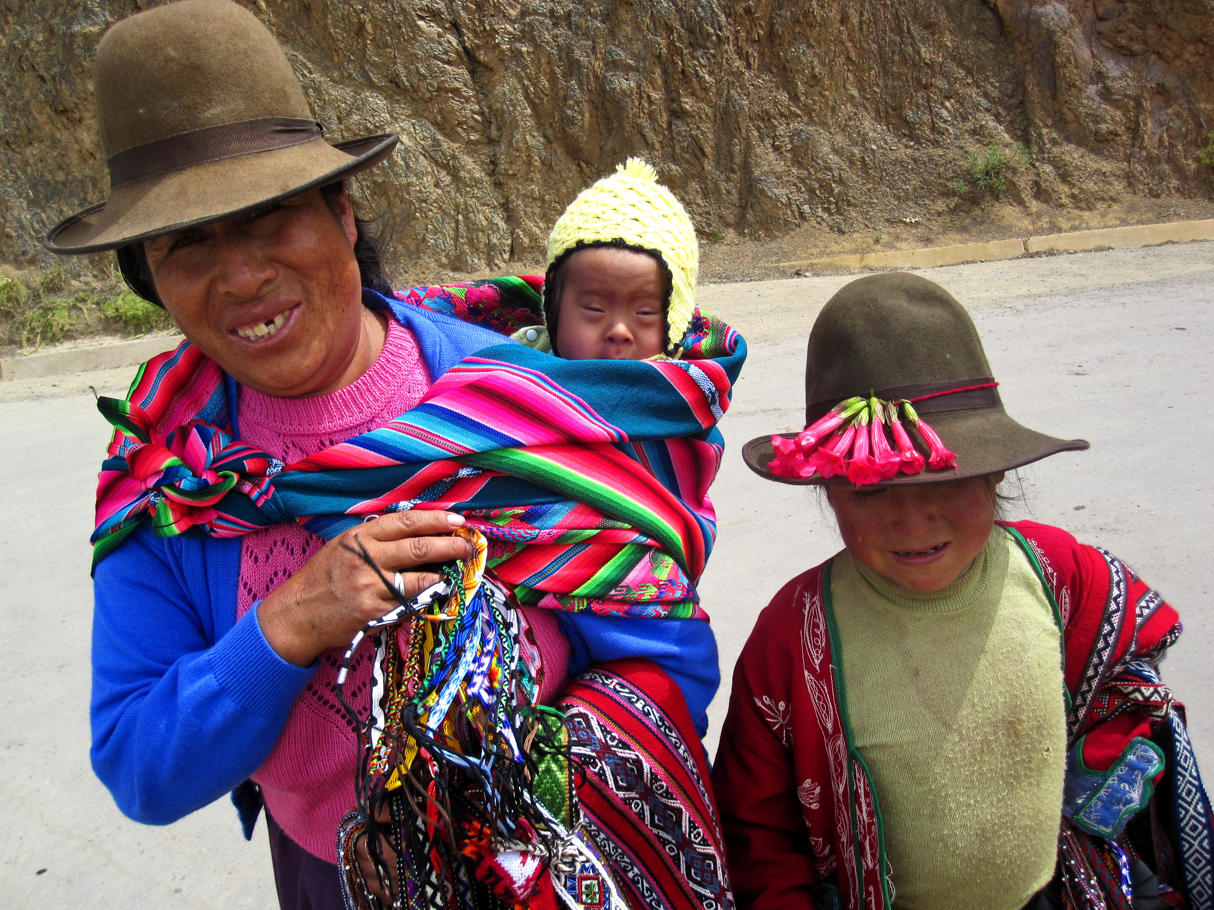 We met this Quechua woman and her two children in one of the ruins. She and her older daugher sell these bracelets she weaves. Moms like her are the ones participating in our vaccine bracelet pilot study. Photo taken: May 26, 2013.
