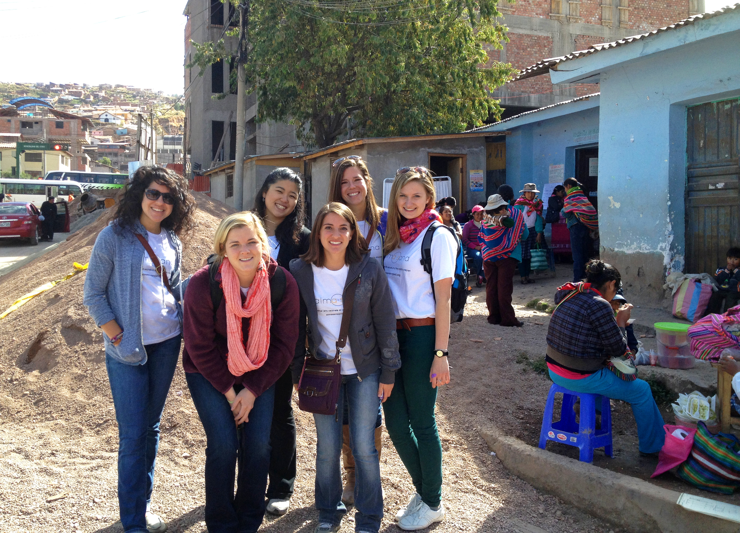 Today (Aug. 10) we say goodbye to our 6 amazing summer interns! As Alma Sana's first interns ever, they worked tirelessly day-to-day giving our patented vaccine bracelets to moms and babies and tracking data with nurses in two Cusco clinics. We will deeply miss them and the positivity, humor, passion, and dedication they brought to our team every day!    As they depart, we're excited to welcome 6 fall interns to carry out the second half of the study. And we're thrilled that one of our summer interns, Joanie Kim, will be staying with us through the fall! Here: our awesome summer interns in front of one of the clinics we're working in. Photo taken: May 24, 2013.