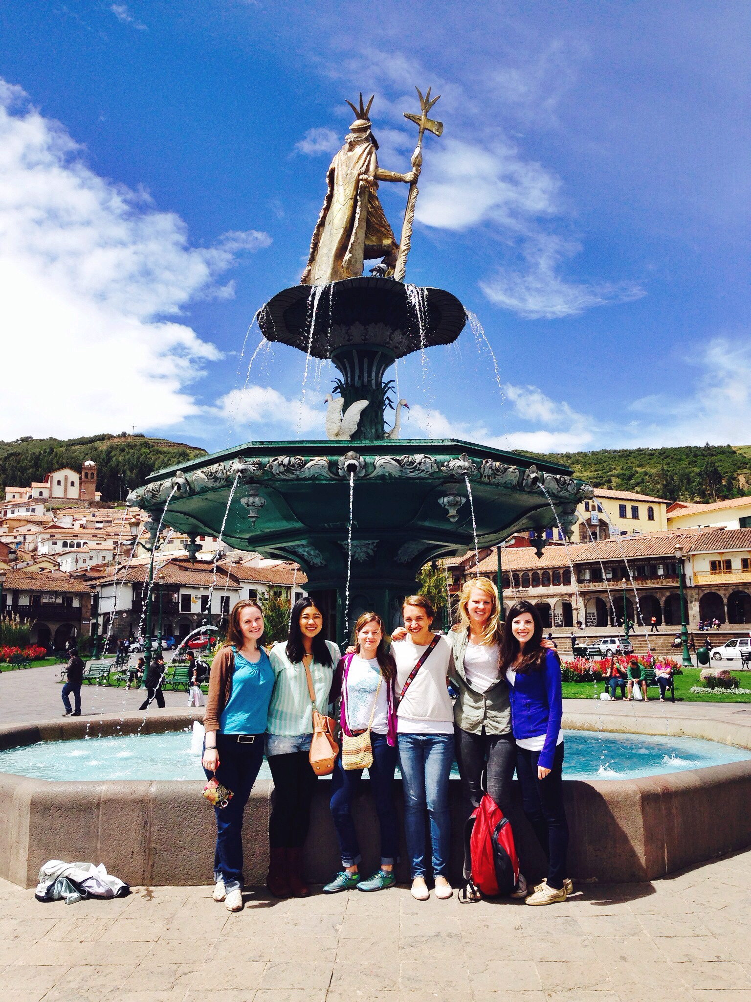 Meet our wonderful fall interns in Cusco (minus Kirstyn Powell) from our Phase I study with our founder, Lauren Braun! From August through December, this team followed up with and gave final questionnaires to the more than 100 moms in our Cusco pilot study. We also GPS'd every mom's house and interviewed nurses about the bracelet. From left to right: Rachel Way, Joanie Kim, Annadele Herman, Nora Springstubb, Eleonore van Wonterghem, and Lauren Braun. Photo taken: Dec. 4, 2013.