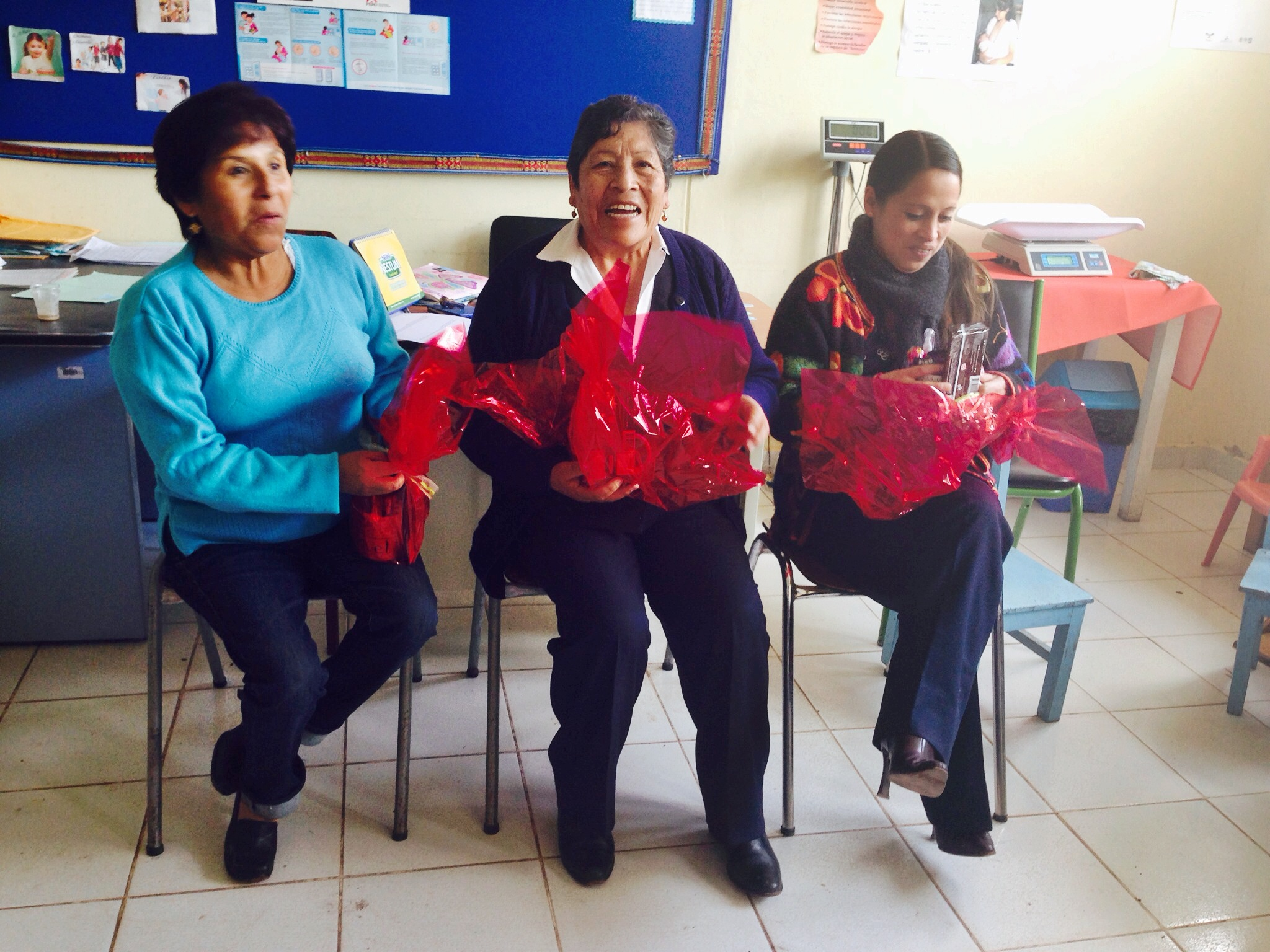 Norita (Little Nora), Esther, the head nurse, and a new nurse. Nurses had never gotten personalized gifts before, so they were so surprised and happy as they discovered each treat inside! Photo taken: Dec. 3.
