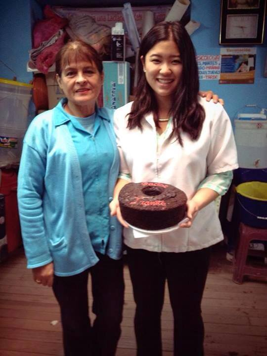 """Hard to believe it but today was the last official day of our study in Cusco! """"Today was my last day working in the clinics. And they made me a cake for my surprise goodbye party! Gonna miss Maria and all of Santa Rosa so much!"""" - Joanie Kim, summer and fall intern. The chocolate cake says """"Gracias Juanita"""". Photo taken: Nov. 30."""