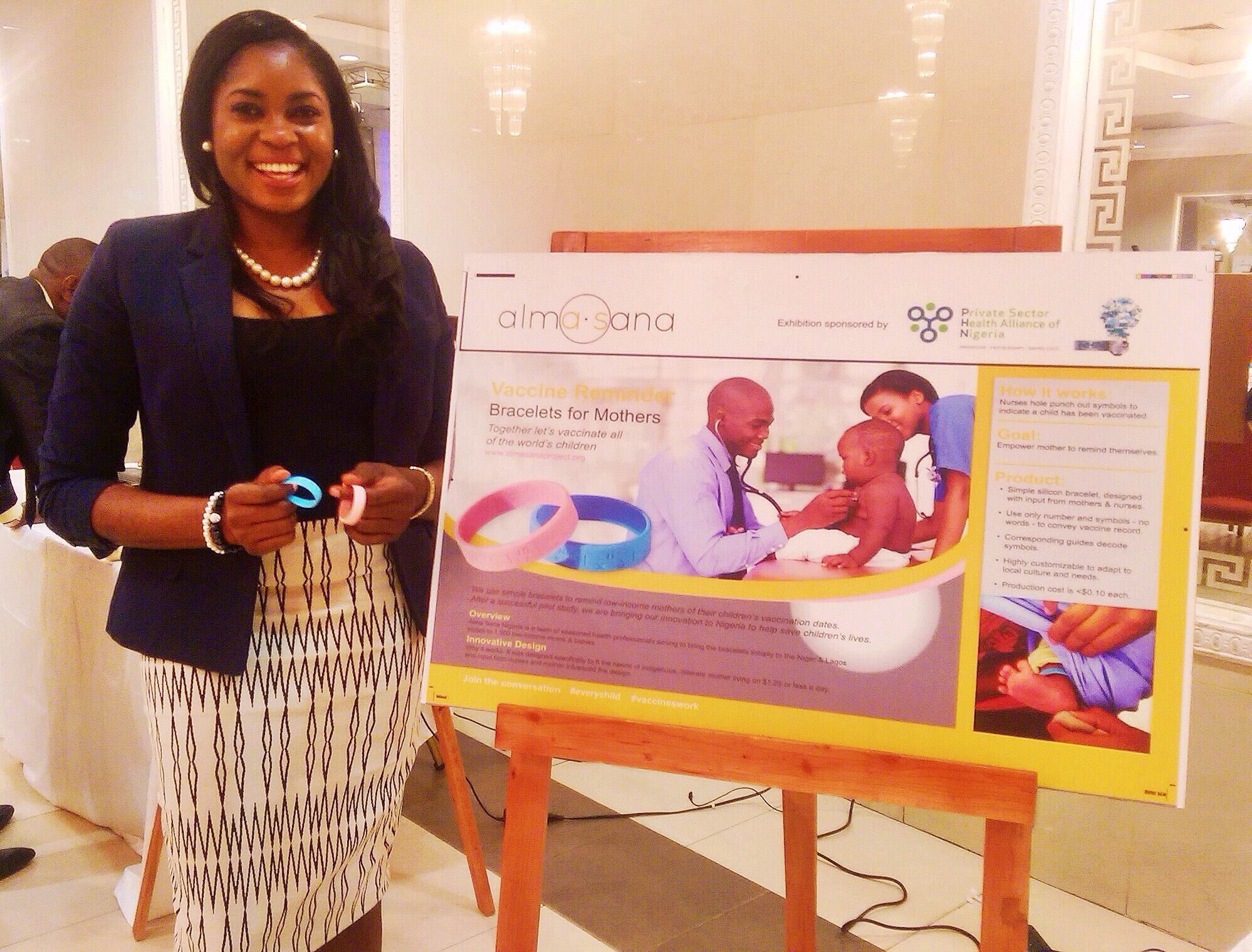 Congrats to Shola Molemodile and the Alma Sana Nigeria team for making it into the top 12 finalists of the inaugural Nigerian Healthcare Innovation Award competition by the   Private Sector Health Alliance  . Although we did not win yesterday, we are proud to have made it this far. We will not stop until we have achieved our mission of reaching every child with our life-saving vaccine reminder bracelets. Onward! Photo posted: October 29, 2015.